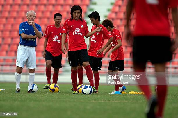 Thailand soccer coach Peter Reid in action during Thailand team training at the Rajamangala National Stadium on November 11 2008 in Bangkok Thailand