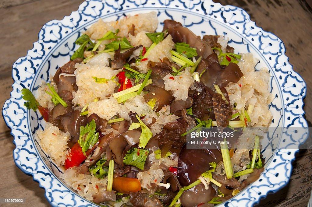 Thailand spicy mushroom salad : Stock Photo