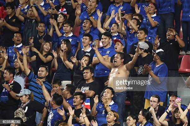 Thailand supporters cheer during the 2018 FIFA World Cup Qualifier match between Thailand and the Australia Socceroos at Rajamangala National Stadium...