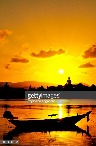 Thailand, Surat Thani Province, Ko Samui, Buddha statue at sunset. : Stock Photo