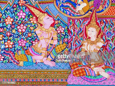 Thailand temple mural paintings stock photo getty images for Average cost of mural painting