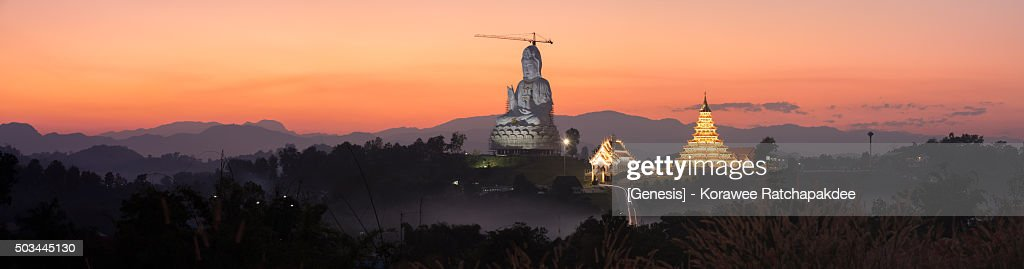 Thailand temple panorama in the sunset : Stock Photo