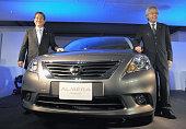 BANGKOK Thailand Toru Hasegawa president of Nissan Motor Co and Nissan Motor Co Chief Operating Officer Toshiyuki Shiga introduce the new Almera...