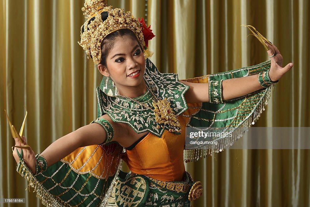 Thailand Woman Dancers in Suit of Bird
