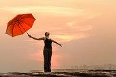 Thailand, Woman enjoying nature