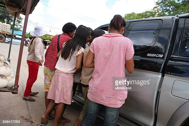 THA ThailandAranyaprathet border aera to Cambodia Child prostitutes waiting for customers