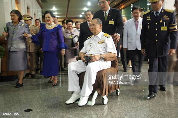 Thailand's King Bhumibol Adulyadej Queen Sirikit and Her Royal Highness Princess Maha Chakri Sirindhorn boarded the Royal Thai Navy ship Angsana to...