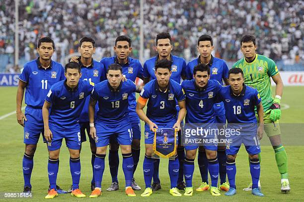 Thailand's national football team poses prior to the World Cup 2018 Asia qualifying football match between Saudi Arabia and Thailand at the King Fahd...