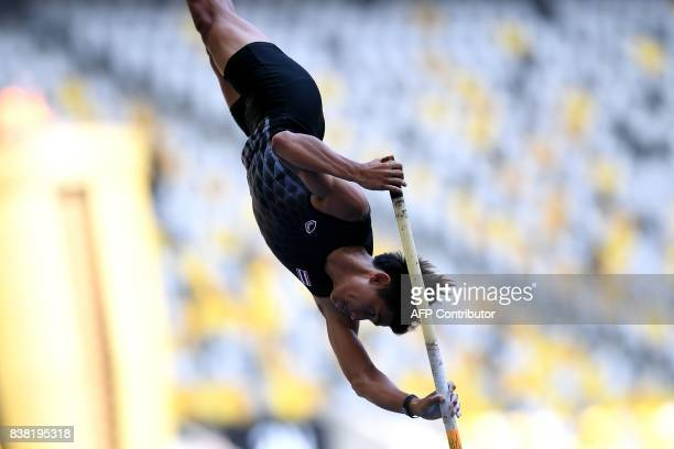 Thailand's Patsapong Amsamang competes in the men's polevault athletics final of the 29th Southeast Asian Games at the Bukit Jalil national stadium...