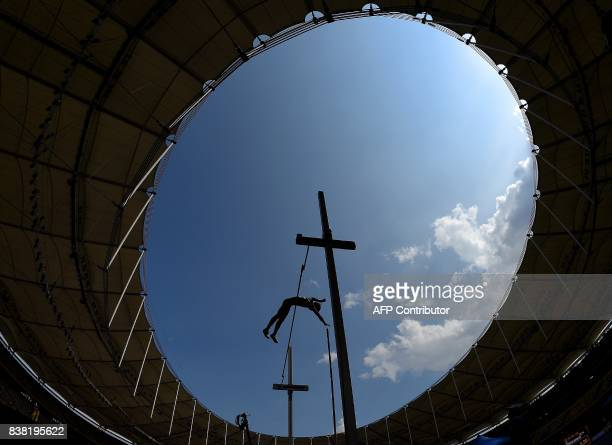 TOPSHOT Thailand's Patsapong Amsamang competes in the men's polevault athletics final of the 29th Southeast Asian Games at the Bukit Jalil national...