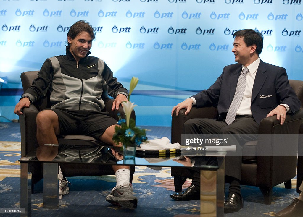 Thailand's Prime Minister Abhisit Vejjajiva (R) and Rafael Nadal of Spain meet during the PTT Thailand Open at Impact Arena on September 30, 2010 in Bangkok, Thailand.