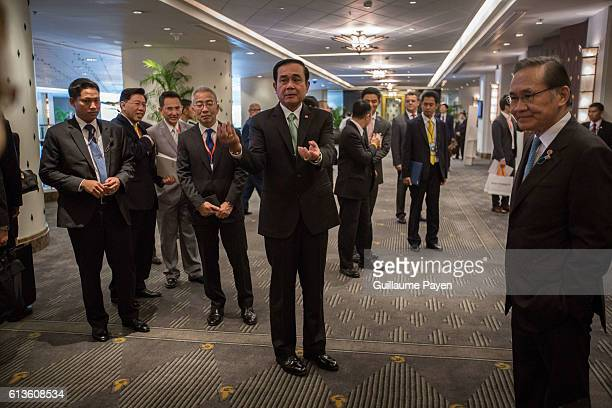 Thailands Prime Minister Prayut ChanoCha arrive at the Plaza Athenee Hotel to give a speech address on The Indispensable Role of Business in the...