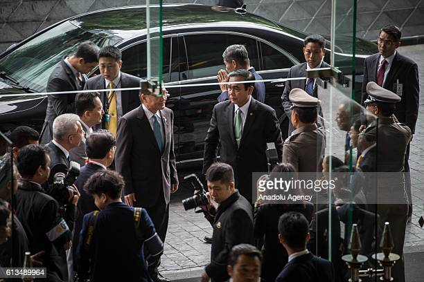 Thailand's Prime Minister Prayut ChanoCha arrives at the Plaza Athenee Hotel to give a speech on 'The Indispensable Role of Business in the Evolution...