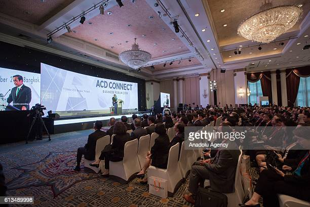 Thailand's Prime Minister Prayut ChanoCha speaks at the Plaza Athenee Hotel on 'The Indispensable Role of Business in the Evolution of ACD' during...
