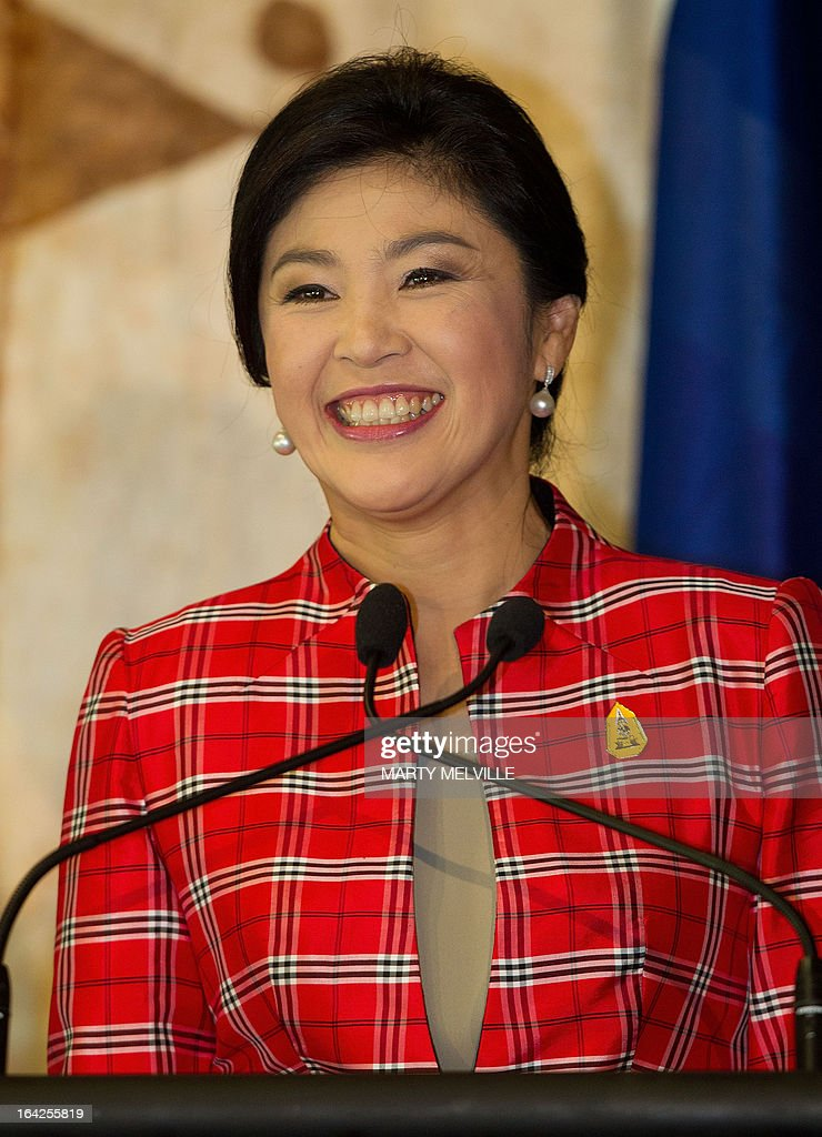 Thailand's Prime Minister Yingluck Shinawatra speaks to the media at a joint press conference during a meeting at Government House in Auckland on March 22, 2013. Yingluck is on a three-day visit to New Zealand.