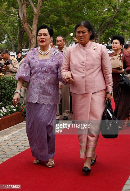 Thailand's Queen Sirikit and Princess Maha Chakri Sirindhorn arrive at Thung Makham in Ayutthaya province north of Bangkok on May 25 2012 Thailand's...