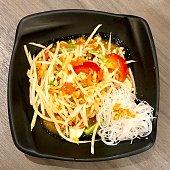 Spicy som yum papaya salad in Bangkok