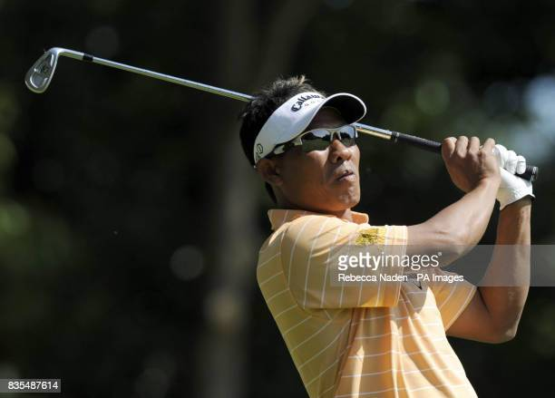 Thailand's Thongchai Jaidee tees off the 2nd hole during Round 3 of the BMW PGA Championship at Wentworth Golf Club Surrey