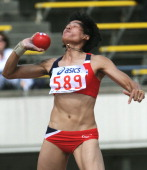 Thailand's Wassana Winatho puts the shot during the women's heptathlon shot put competition in the 2011 Asian Athletics Championships in Kobe on July...