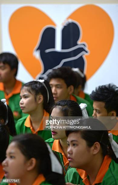 ThailandsocialhealthsexFEATURE by Amélie BOTTOLLIER This photo taken on October 28 2013 shows Thai teenage students attending a sex education program...
