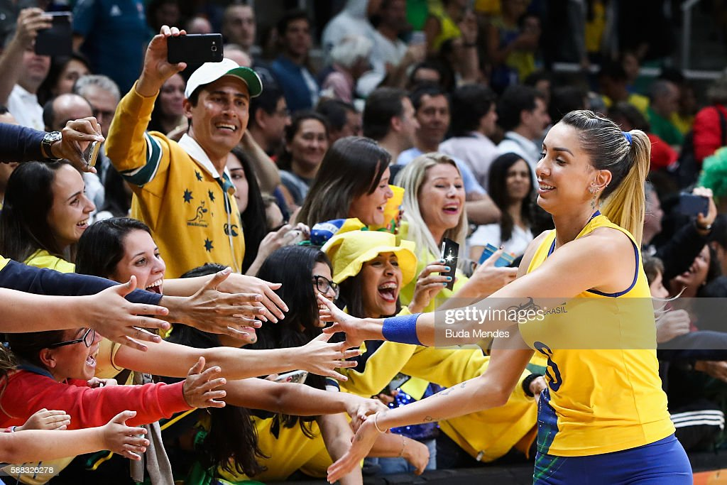 Thaisa Menezes #6 of Brazil greets the fans during the women's qualifying volleyball match between theBrazil and Japan on Day 5 of the Rio 2016 Olympic Games at the Maracanazinho on August 10, 2016 in Rio de Janeiro, Brazil.