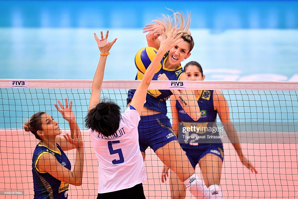 Thaisa Menezes of Brazil hits the ball during day one of the FIVB World Grand Prix Group 1 Final on July 6, 2016 in Bangkok, Thailand.