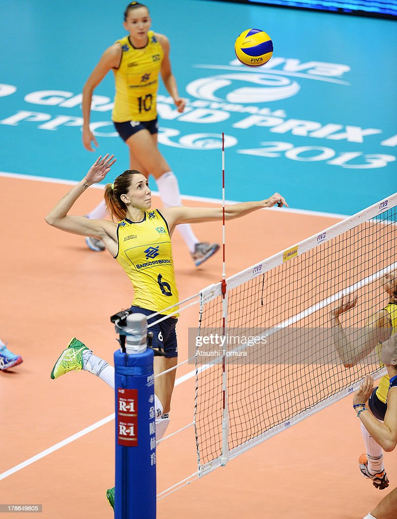 Thaisa Menezes of Brazil spikes the ball during day three of the FIVB World Grand Prix Sapporo 2013 match between Brazil and Italy at Hokkaido Prefectural Sports Center on August 30, 2013 in Sapporo, Hokkaido, Japan.