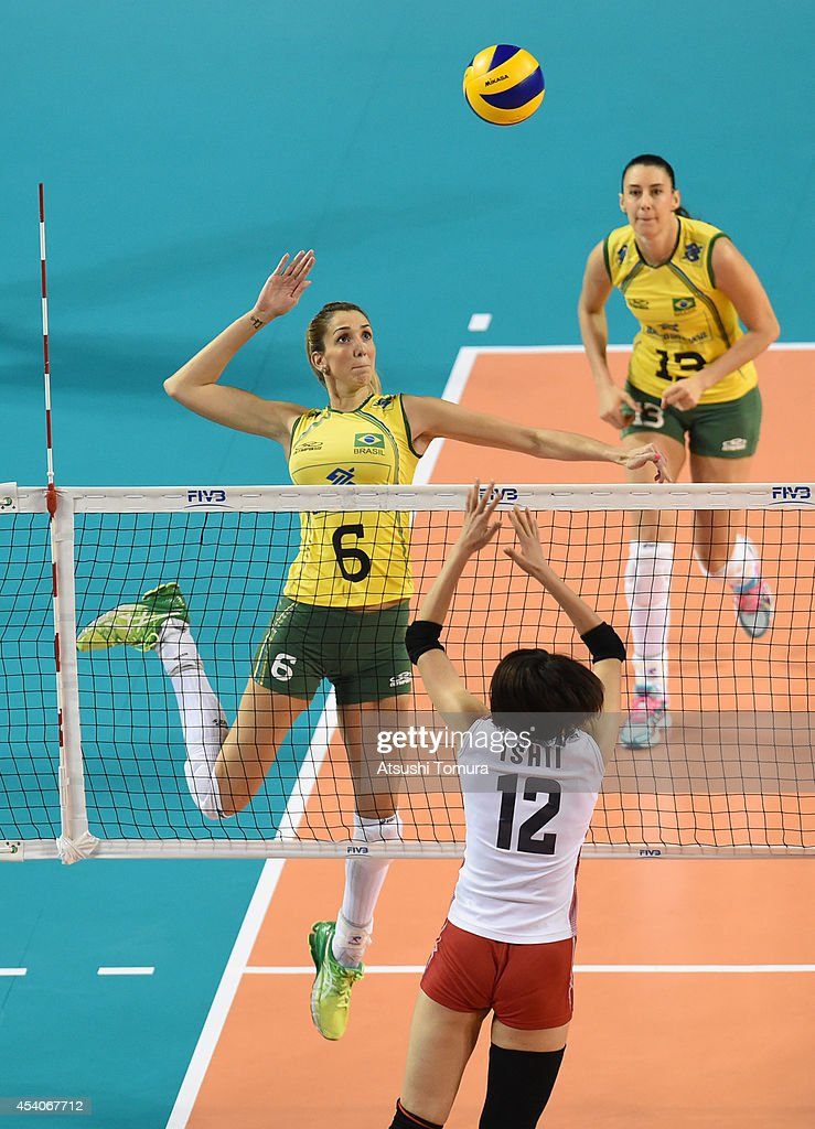 <a gi-track='captionPersonalityLinkClicked' href=/galleries/search?phrase=Thaisa+Menezes&family=editorial&specificpeople=4408968 ng-click='$event.stopPropagation()'>Thaisa Menezes</a> of Brazil spikes the ball during the FIVB World Grand Prix Final group one match between Brazil and Japan on August 24, 2014 in Tokyo, Japan.