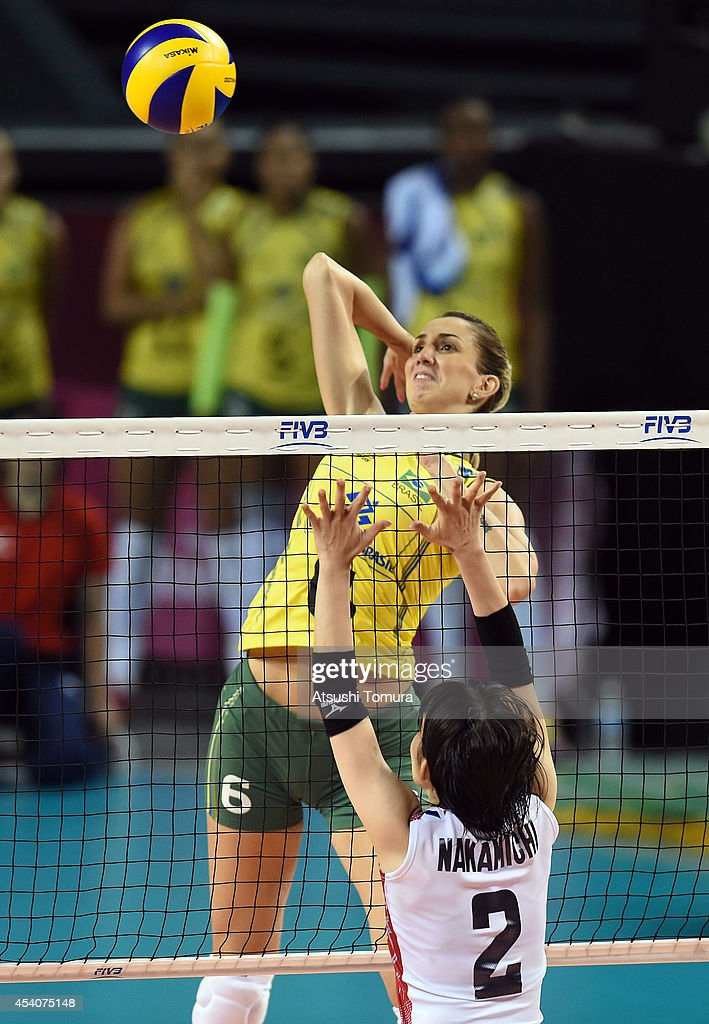 Thaisa Menezes of Brazil spikes the ball during the FIVB World Grand Prix Final group one match between Brazil and Japan on August 24, 2014 in Tokyo, Japan.