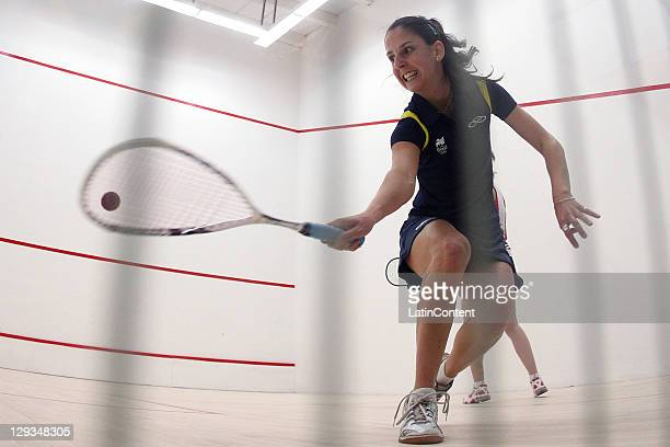 Thaisa Serafini from Brasil compite with Lilly Lorentzen from USA in women's Squash clasification during the 2011 XVI Pan American Games at CODE...