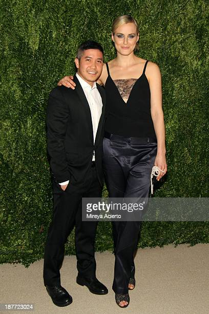 Thakoon Panichgul and Taylor Schilling attend CFDA and Vogue 2013 Fashion Fund Finalists Celebration at Spring Studios on November 11 2013 in New...