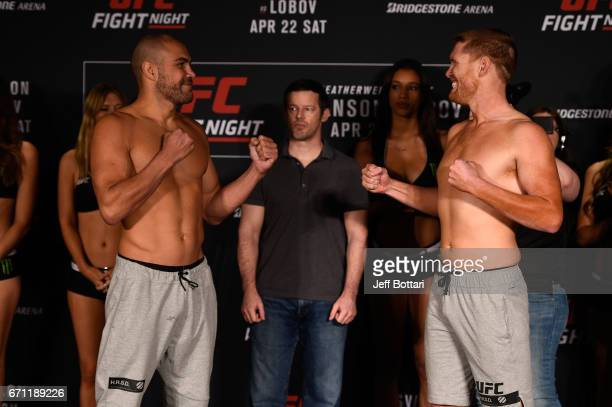 Thales Leites of Brazil and Sam Alvey face off during the UFC Fight Night weighin at the Sheraton Music City Hotel on April 21 2017 in Nashville...
