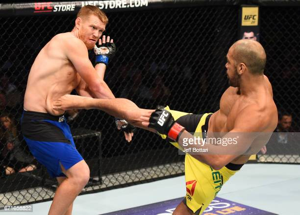 Thales Leites of Brazil kicks Sam Alvey in their middleweight bout during the UFC Fight Night event at Bridgestone Arena on April 22 2017 in...