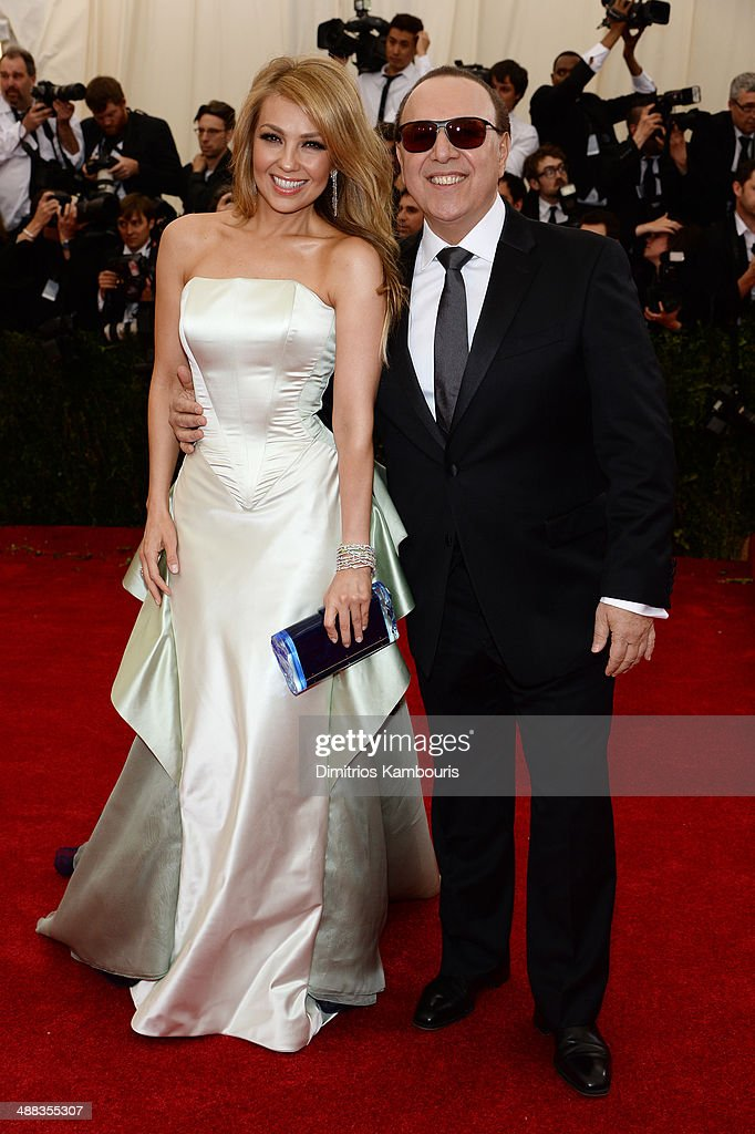 Thalia and Tommy Matola attend the 'Charles James Beyond Fashion' Costume Institute Gala at the Metropolitan Museum of Art on May 5 2014 in New York...