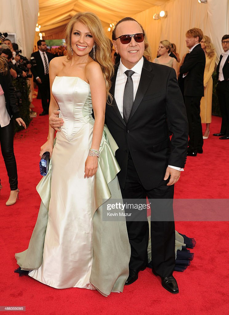 Thalia and Tommy Mottola attend the 'Charles James Beyond Fashion' Costume Institute Gala at the Metropolitan Museum of Art on May 5 2014 in New York...