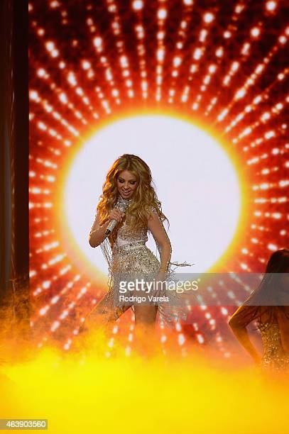 Thalia performs onstage at the 2015 Premios Lo Nuestros Awards at American Airlines Arena on February 19 2015 in Miami Florida