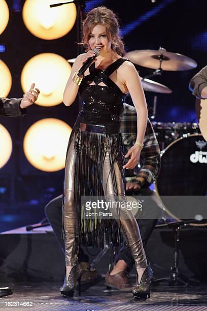 Thalia performs onstage at the 25th Anniversary of Univision's 'Premio Lo Nuestro A La Musica Latina' on February 21 2013 in Miami Florida