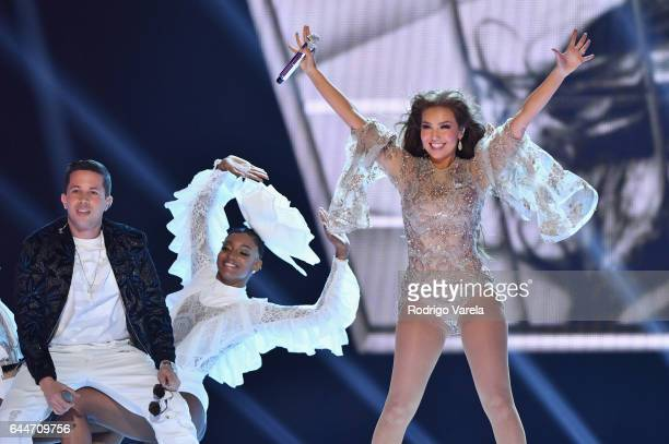 Thalia performs onstage during Univision's 29th Edition of Premio Lo Nuestro A La Musica Latina at the American Airlines Arena on February 23 2017 in...