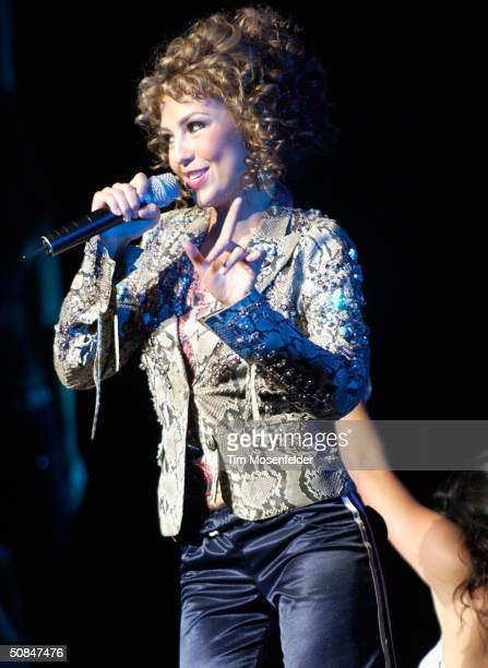 Thalia performs part of her 'High Voltage Tour 2004' at the San Jose Center for Performing Arts on May 16 2004 in San Jose California