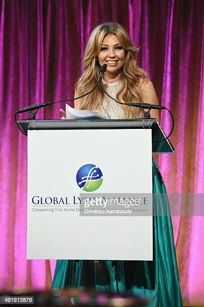 Thalia speaks onstage during the Global Lyme Alliance 'Uniting for a LymeFree World' Inaugural Gala at Cipriani 42nd Street on October 8 2015 in New...