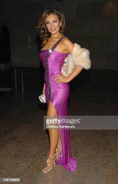 Thalia wearing Roberto Cavalli during Roberto Cavalli Hosts a Preview Gala for the Metropolitan Museum's WILD Fashion Untamed Inside at Temple of...