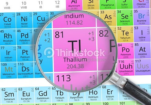 Thallium Element Of Mendeleev Periodic Table Magnified With Ma Stock