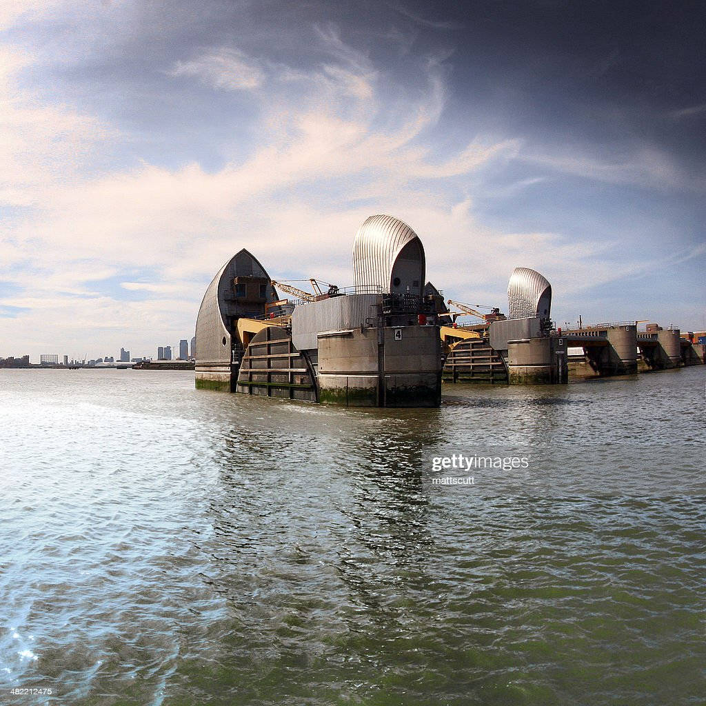 UK, London, View of Thames Barrier