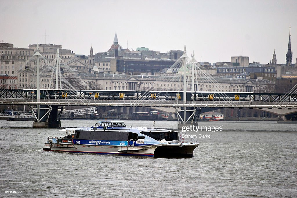 A Thames Clipper travels on the Thames on February 25, 2013 in London, England. A £10 million boost to double the number of commuters travelling on the Thames over the next seven years was announced by Transport for London today.