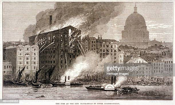 Thames Street Fire London 1872 The fire at the City Flour Mills Upper Thames Street in 1872 Water from hoses is being directed at the building Paddle...