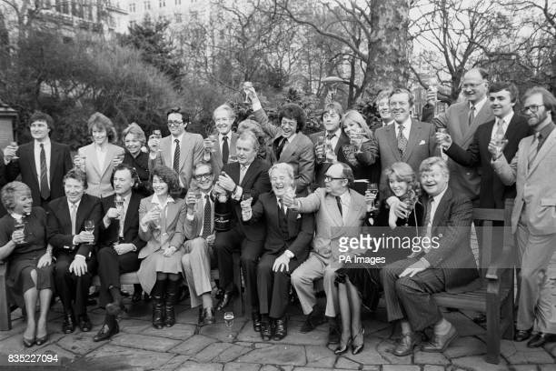 Thames Television new contract stars gathered in London They included left tor right back row Peter Tilbury Jim Davidson Pauline Yates Ian Ogilvy...