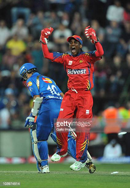 Thami Tsolekile of the Highveld Lions celebrates the wicket of Sachin Tendulkar of the Mumbai Indians for 69 runs during the Airtel Champions League...