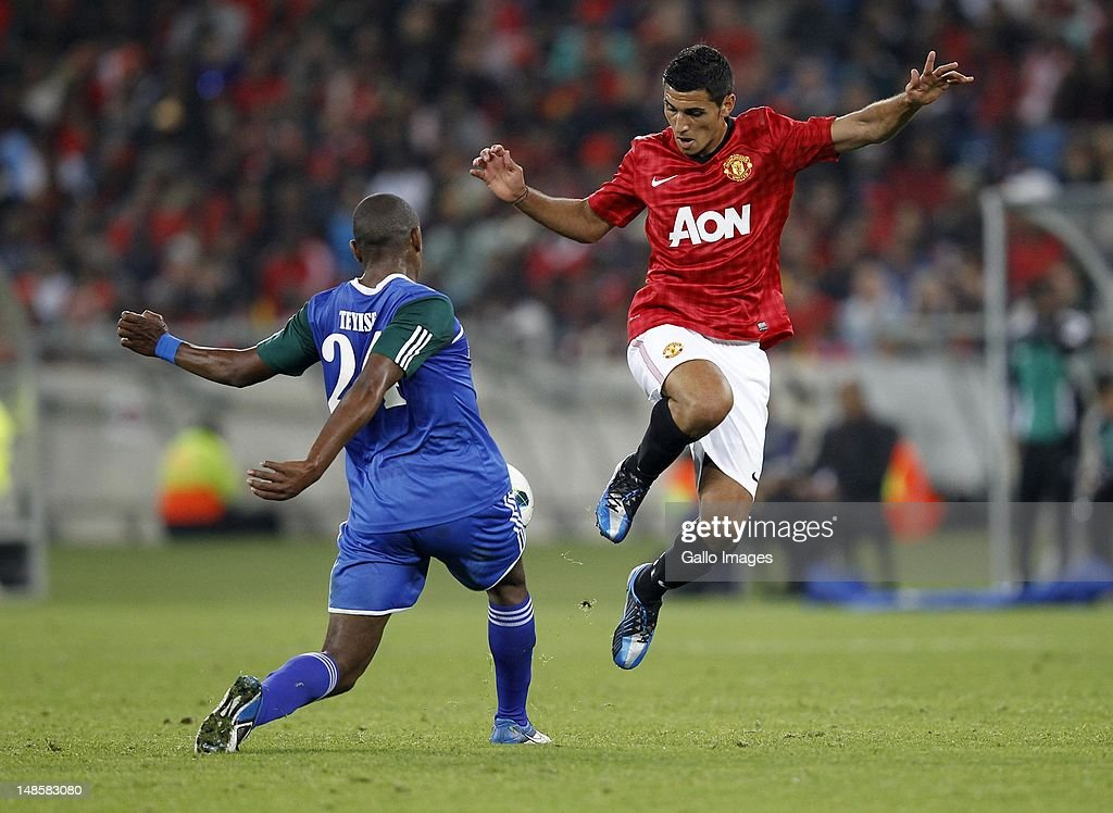 Thamsanqa Teyise and Frederico macheda during the MTN Football Invitational match between Amazulu and Manchester United from Moses Mabhida Stadium on July 18, 2012 in Durban, South Africa