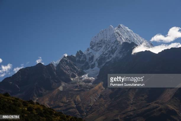 Thamserku mountain peak near Namche Bazaar village, Everest region, Nepal