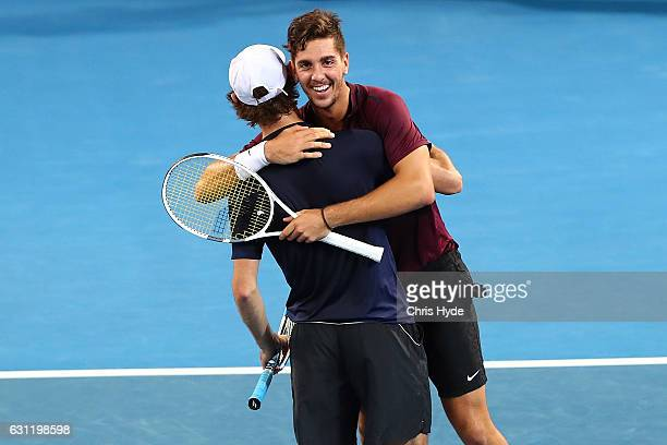 Thanasi Kokkinakis and Jordan Thompson of Australia celebrate winning against Gilles Muller of Luxembourg Sam Querrey of the USA during the Men's...